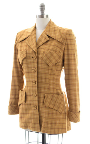 1940s Mustard Plaid Wool Suit Jacket