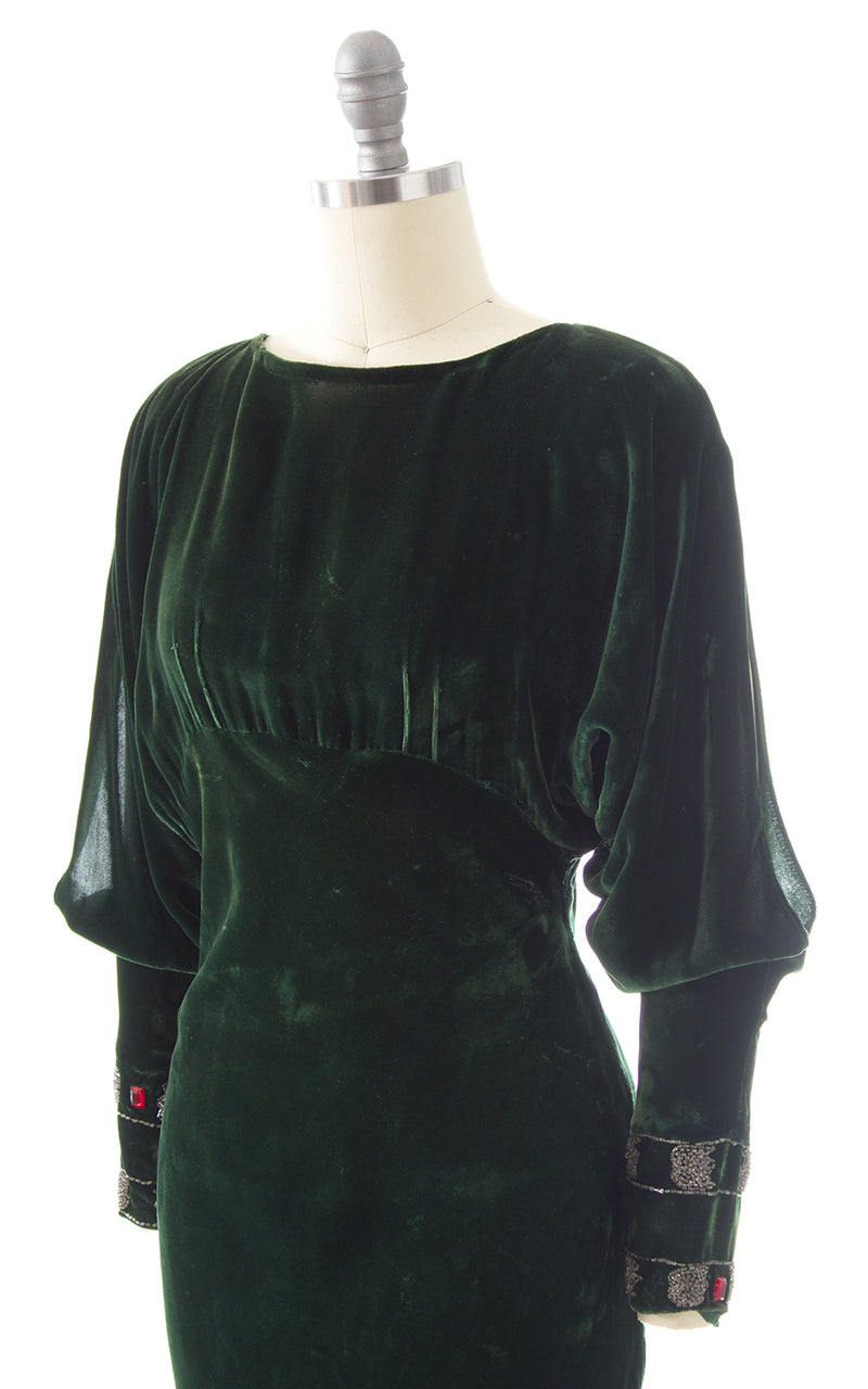 1930s Forest Green Bias Cut Velvet with Beaded Slit Sleeves Gown