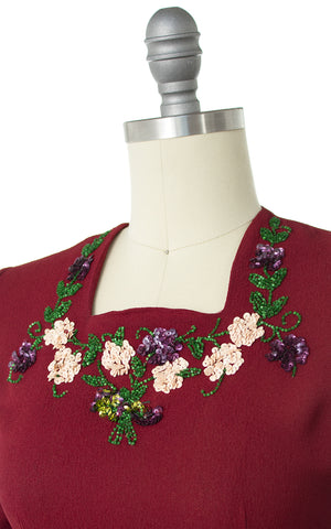 1940s Floral Sequin Rayon Crepe Dress