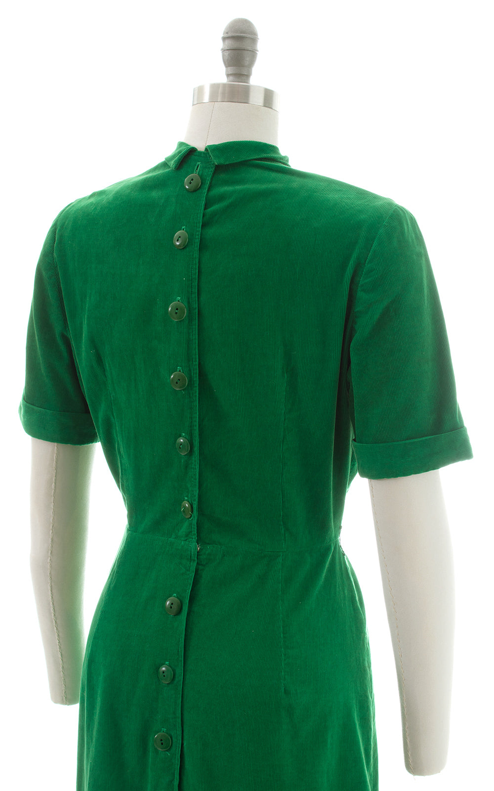 1940s Kelly Green Corduroy Button Back Dress
