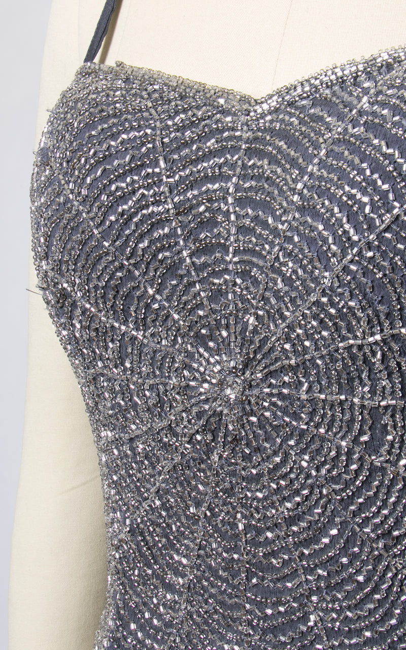 1980s Spiderweb Beaded Indian Silk Chiffon Top | x-small/small