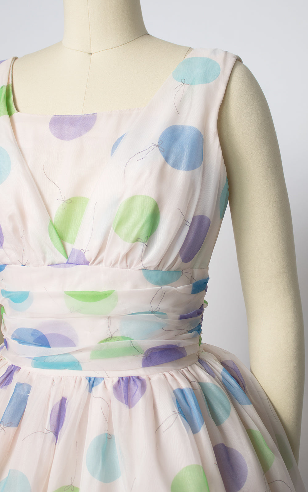 1960s Balloon Novelty Print Chiffon Party Dress