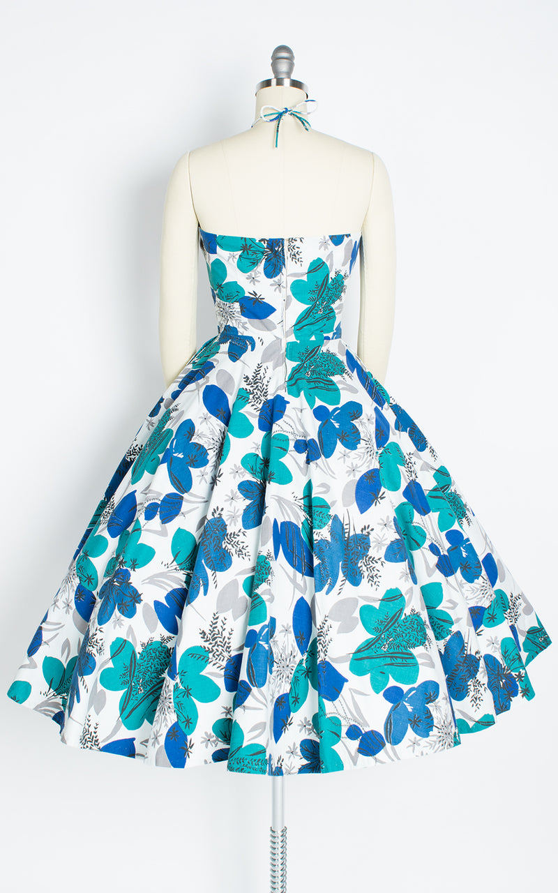 1950s Floral Cotton Halter Circle Skirt Sundress with Pockets