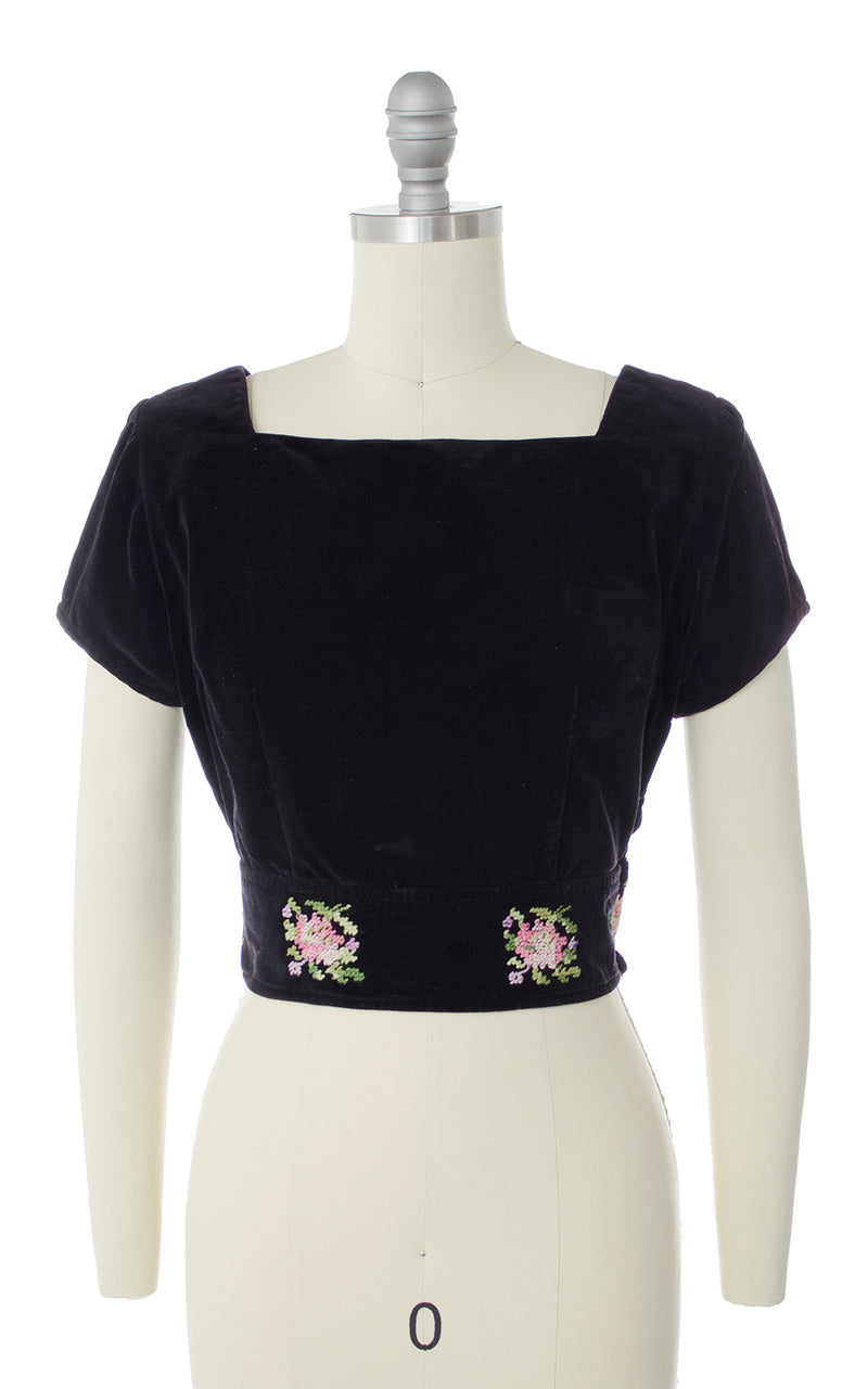 1950s Floral Embroidered Velvet Crop Top