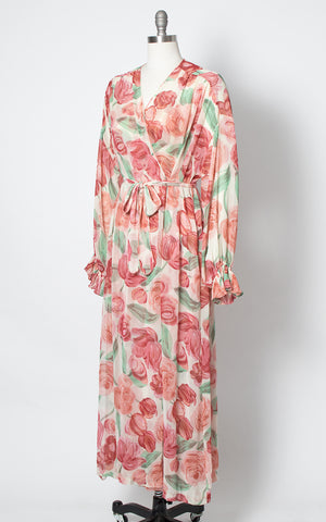 1980s Floral Silk Chiffon Nightgown & Robe Set