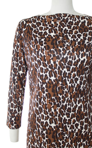 1960s Leopard Print Nylon Shift Dress
