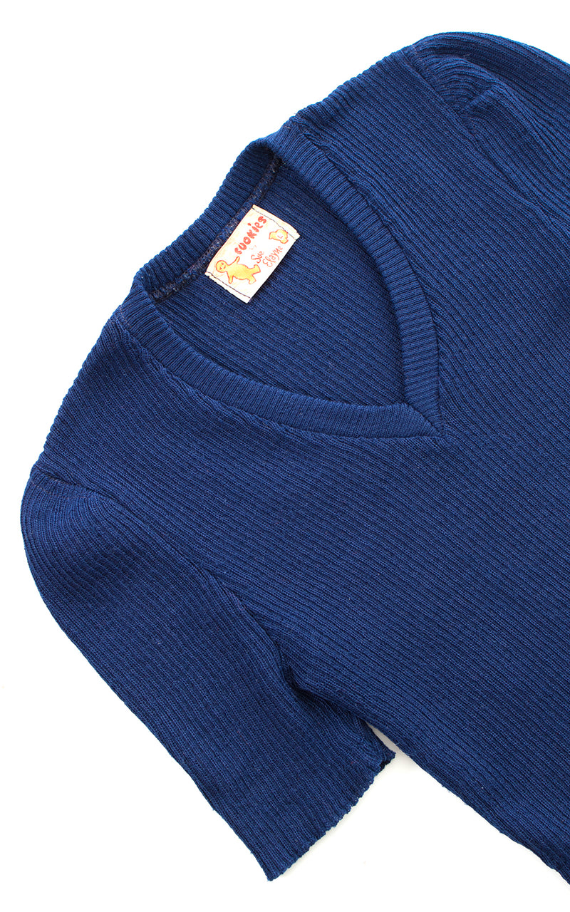 1970s Navy Blue Knit Sweater Top