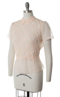 1950s Pintuck Light Pink Nylon Blouse