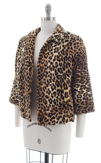 950s Leopard Print Faux Fur Swing Coat