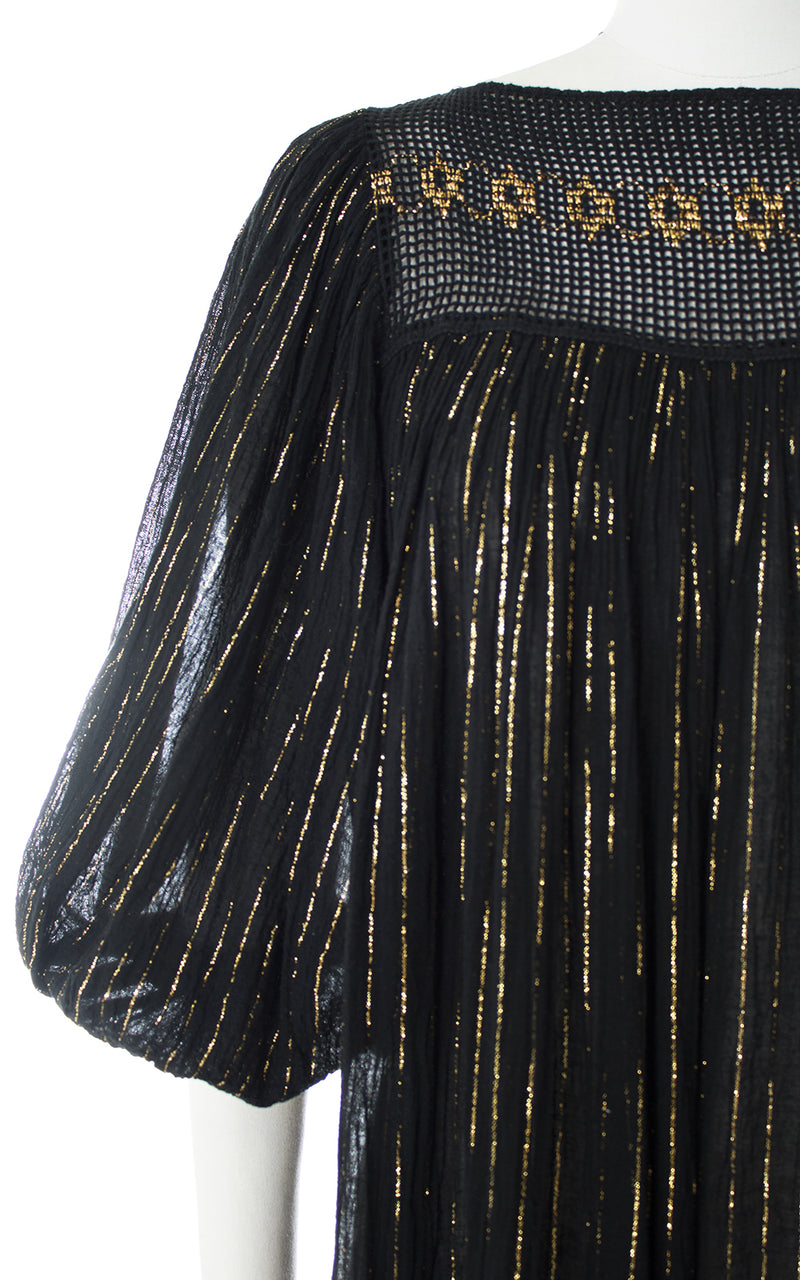 1970s Gold Striped Sheer Black Cotton Gauze Maxi Dress