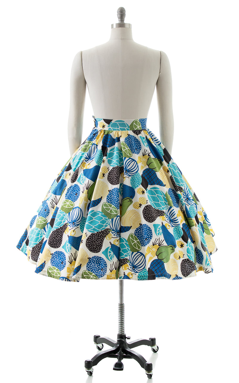 1950s Fruit & Veggies Novelty Print Circle Skirt