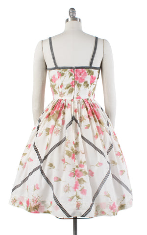 1950s Pink Floral Plaid White Sundress