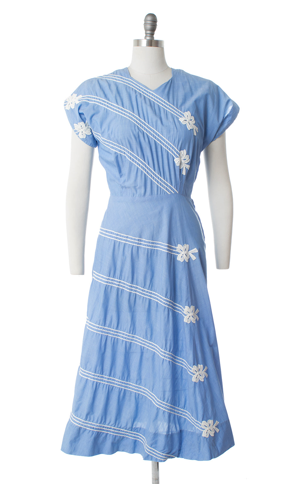 1950s Bow Striped Cotton Dress