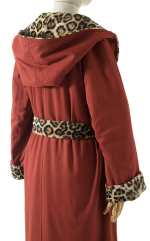 1970s Reversible Leopard Print Faux Fur Hooded Wrap Coat