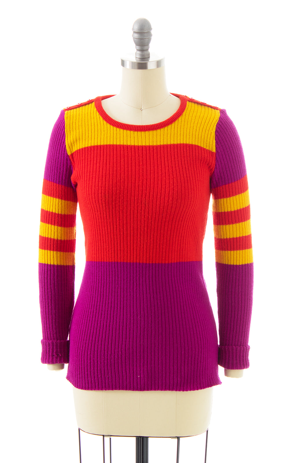 1970s Color Block Knit Sweater