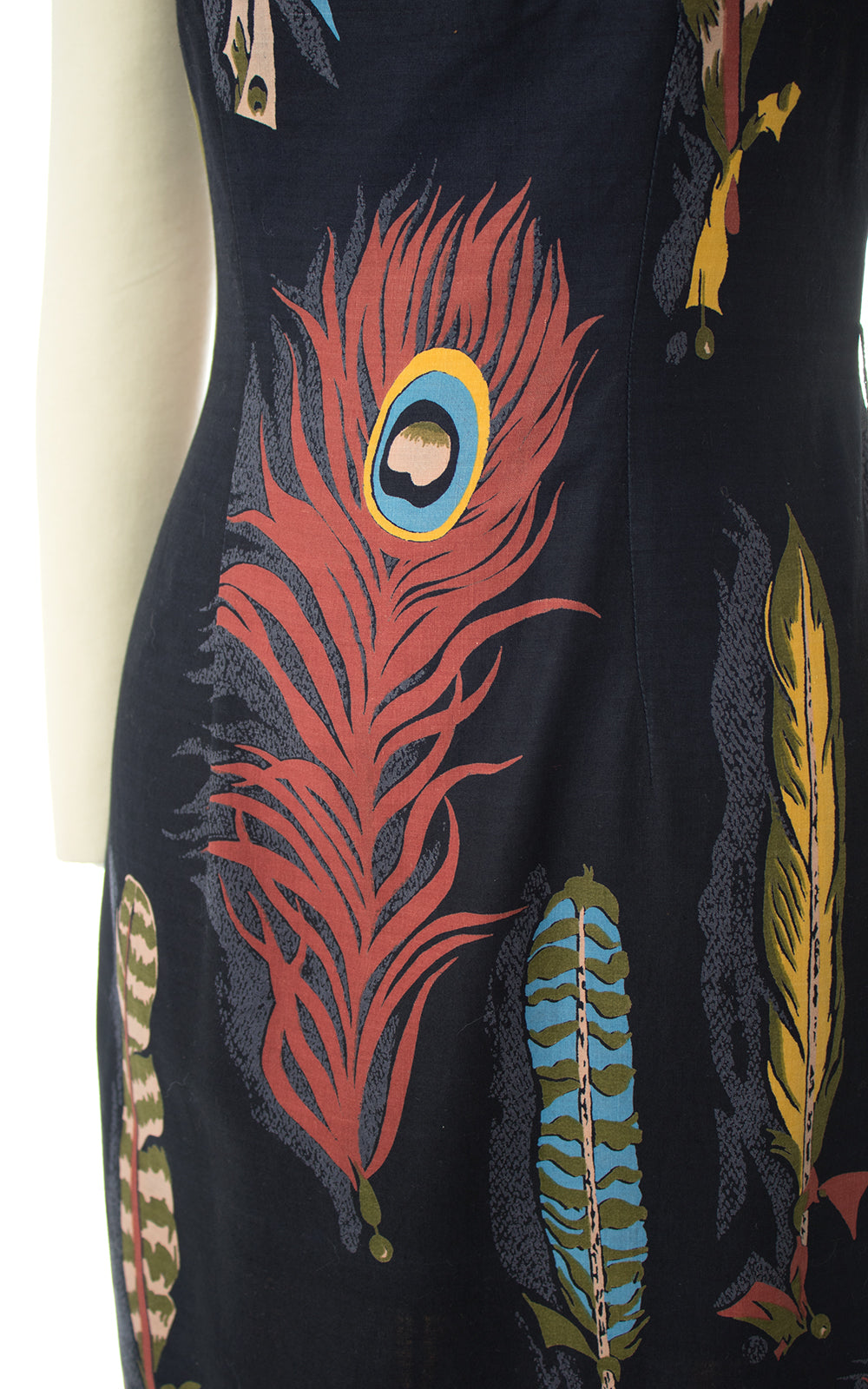 1960s Peacock Feather Novelty Print Wiggle Dress