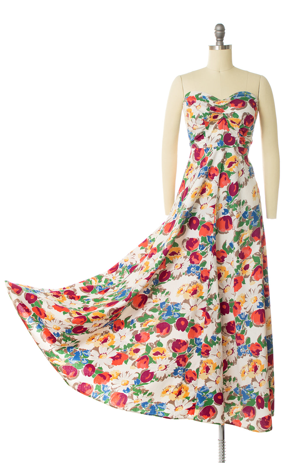 1930s 1940s Floral Cotton Strapless Maxi Dress
