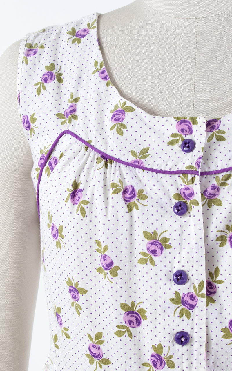 1940s Purple Rose Polka Dot Shirtwaist Sundress with Pockets