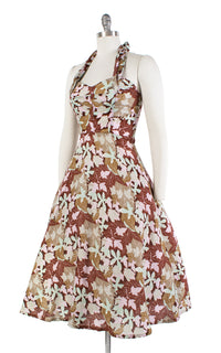 1950s Style Leaf Printed Halter Sundress with Pockets