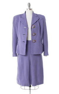 1940s Lavender Wool Skirt Suit with Celluloid Buttons