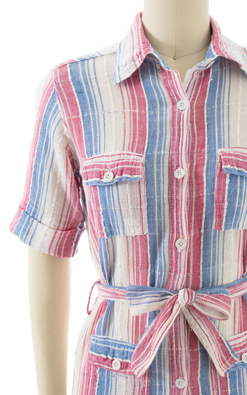 1970s Striped Cotton Gauze Belted Blouse