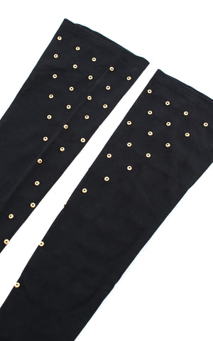 1940s Gold Studded Rayon Jersey Elbow-Length Gloves