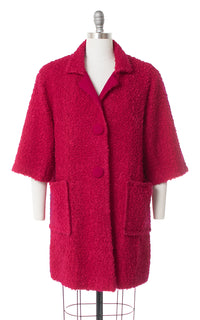 1960s Hot Pink Bouclé Wool Coat