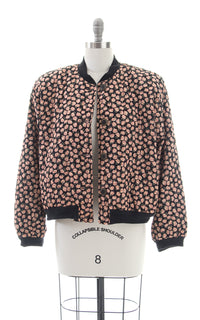 1990s Floral Quilted Cotton Bomber Jacket