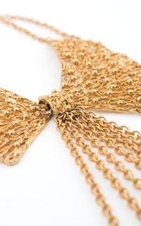 1980s Napier Gold Tone Metal Fringe Collar Necklace