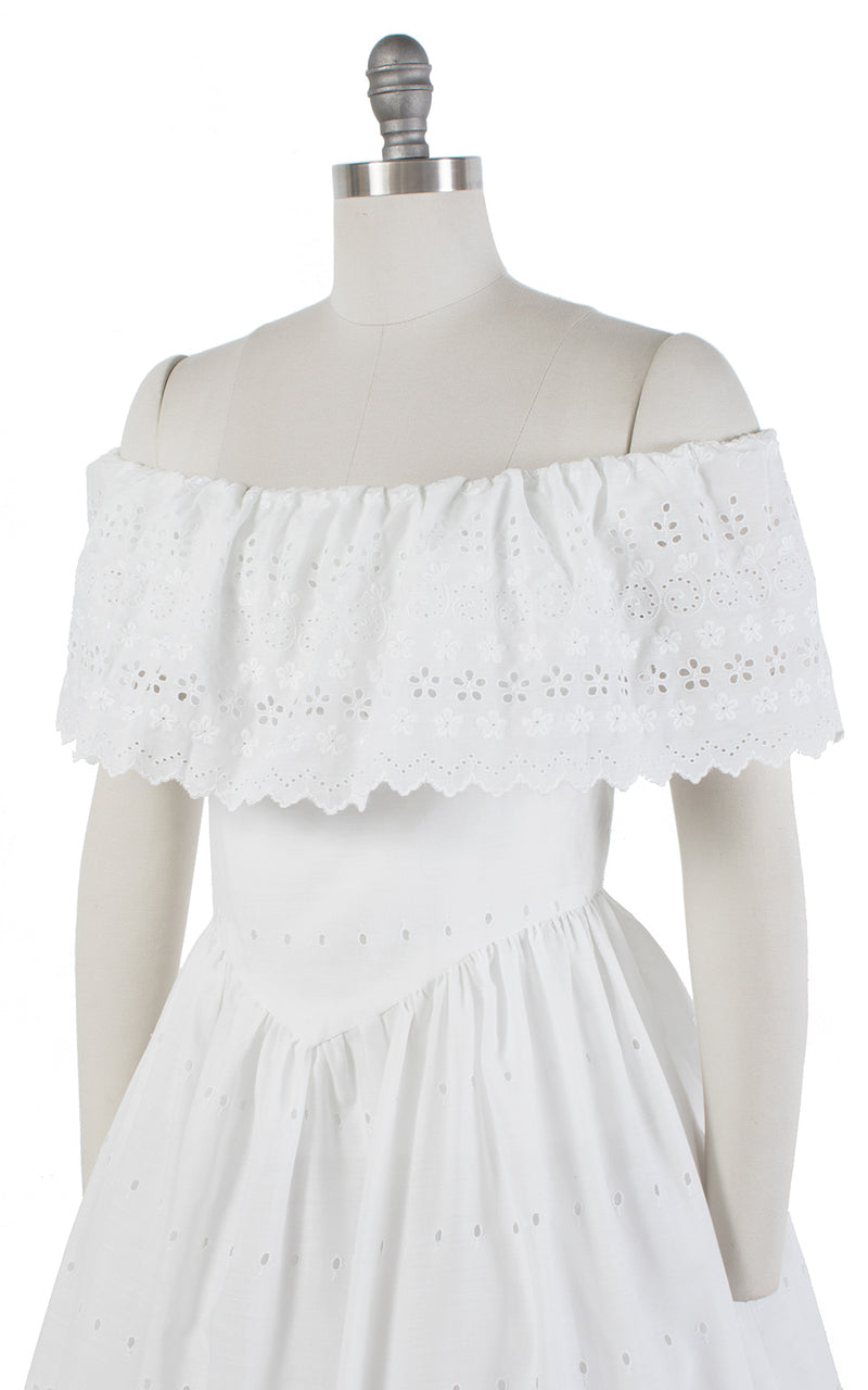 1980s Floral Eyelet Off-the-Shoulder White Cotton Sundress