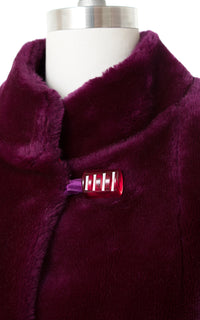 1970s Purple Plush Faux Fur Cropped Jacket