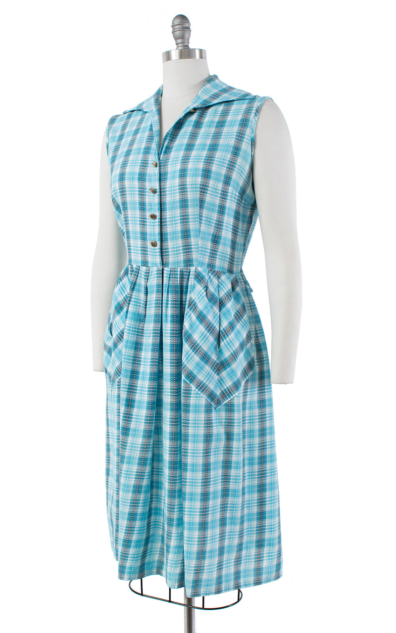 1960s Blue Plaid Cotton Shirtwaist Sundress with Pockets