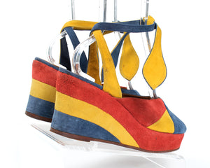 1970s Color Block Suede Ankle Tie Platforms