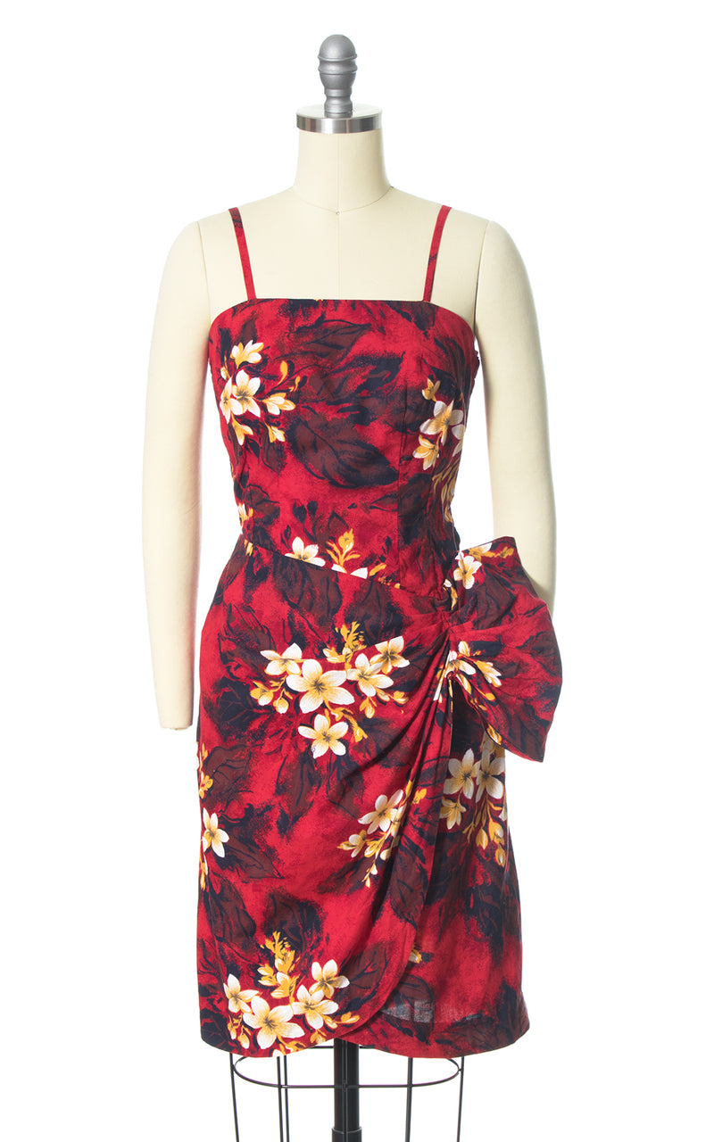 1950s 1960s Hawaiian Plumeria Sarong Dress