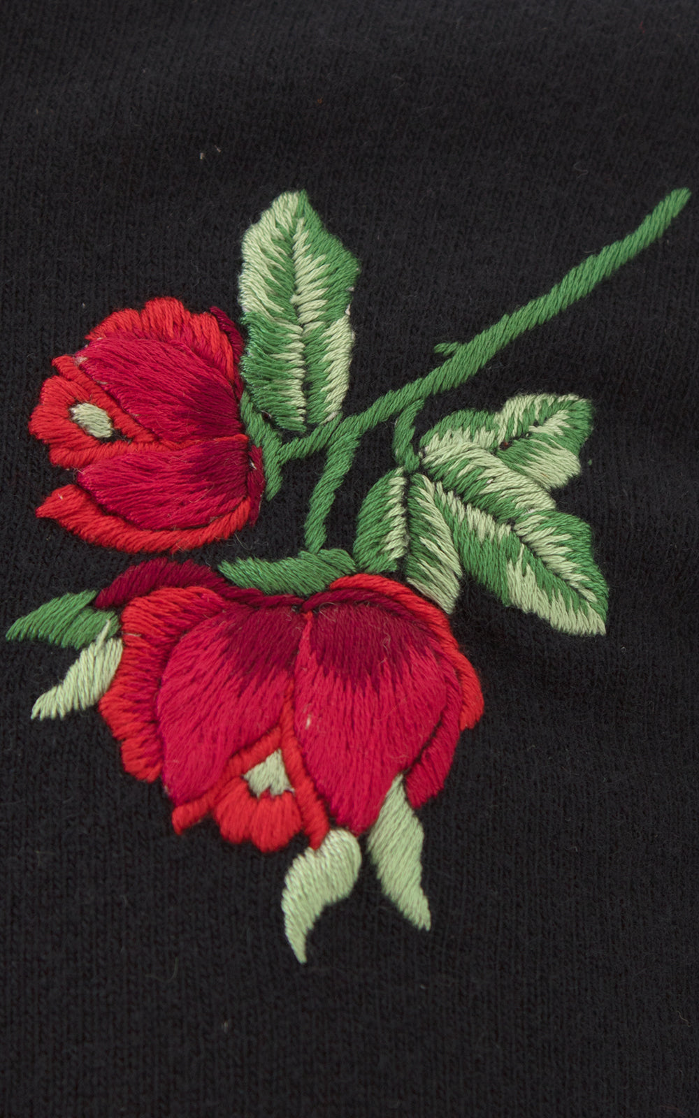 1950s Rose Embroidered Cashmere Knit Cardigan