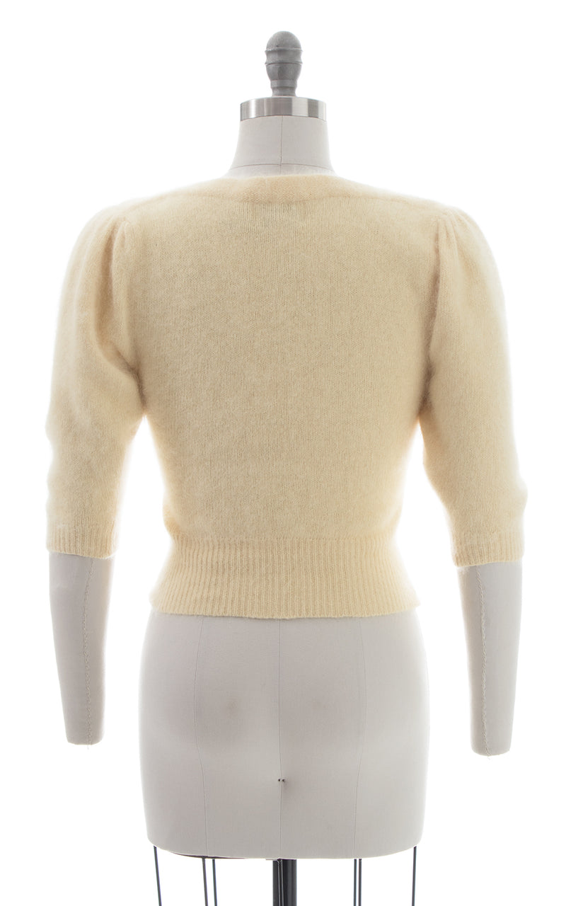 1980s Angora Knit Puff Sleeve Sweater Top