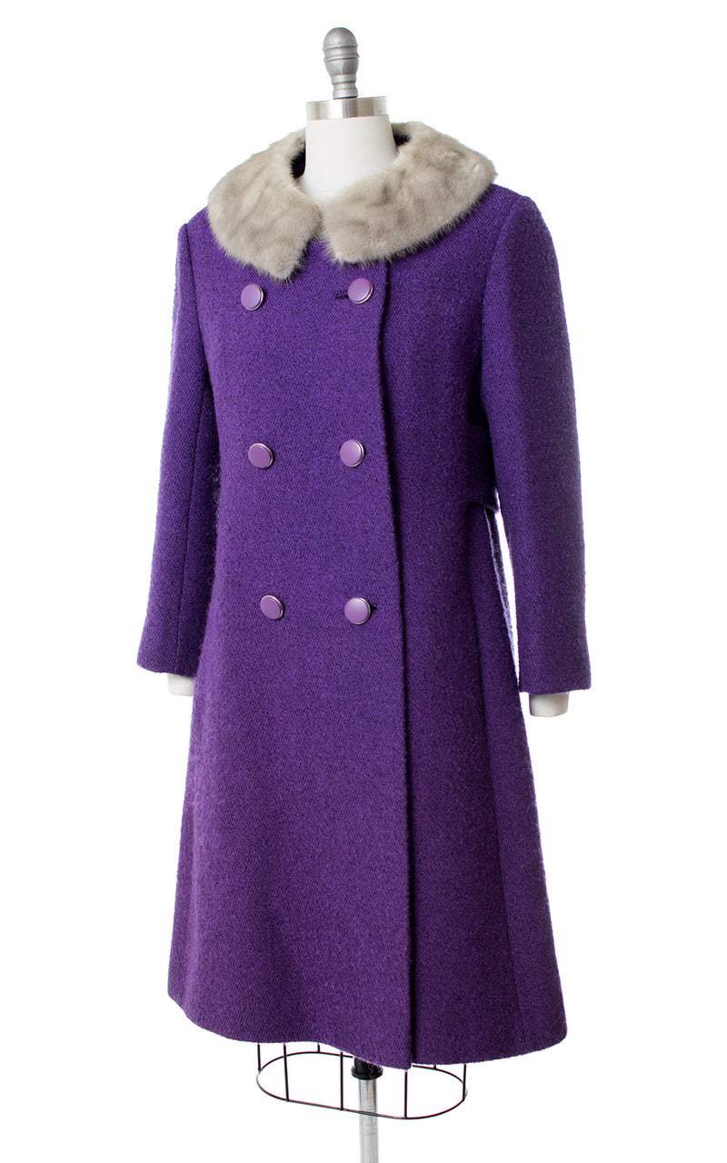 1960s Mink Fur & Royal Purple Wool Coat