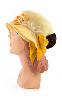 1920s Yellow Floral Cloche