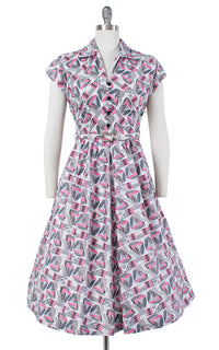 1940s Atomic Sailboat Novelty Print Dress