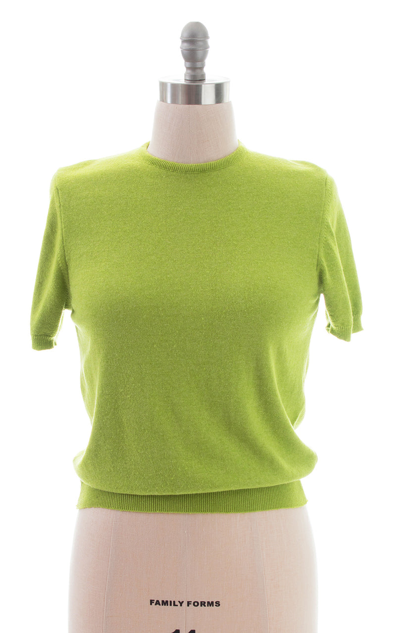 1950s Lime Green Cashmere Knit Sweater Top