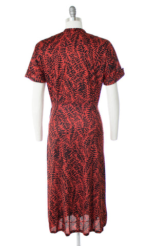 1940s Fern Printed Rayon Jersey Shirt Dress