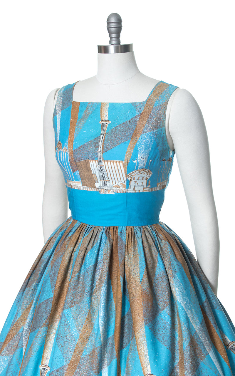 1960s Seattle World's Fair Novelty Border Print Sundress