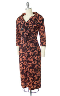 1950s Floral Shawl Collar Jersey Wiggle Dress