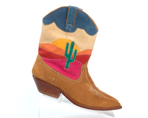 1980s Cactus Sunset Novelty Suede Cowboy Boots