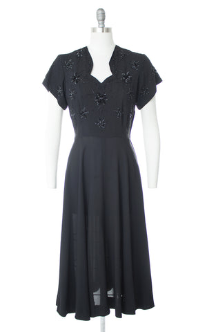 1940s Floral Sequin Beaded Rayon Evening Dress