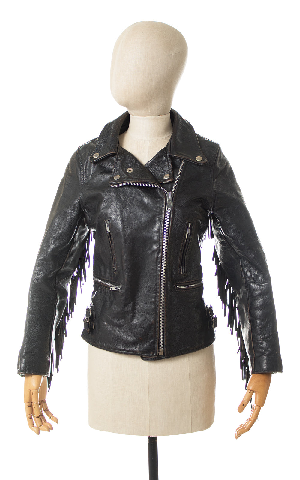1970s Fringe Black Leather Motorcycle Jacket