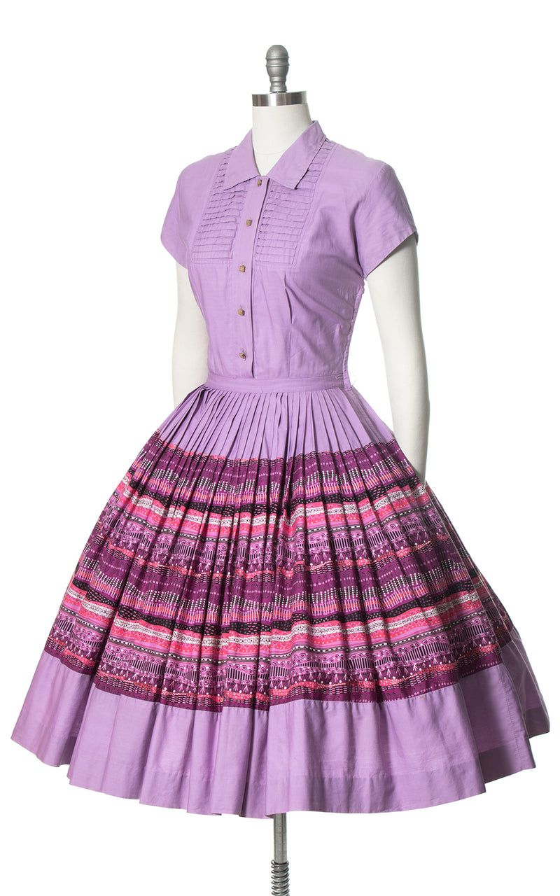 1950s Associated American Artists Purple Cotton Shirtwaist Dress