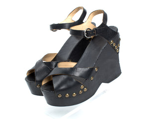 1970s Studded Black Leather and Wood Platform Wedge Sandals
