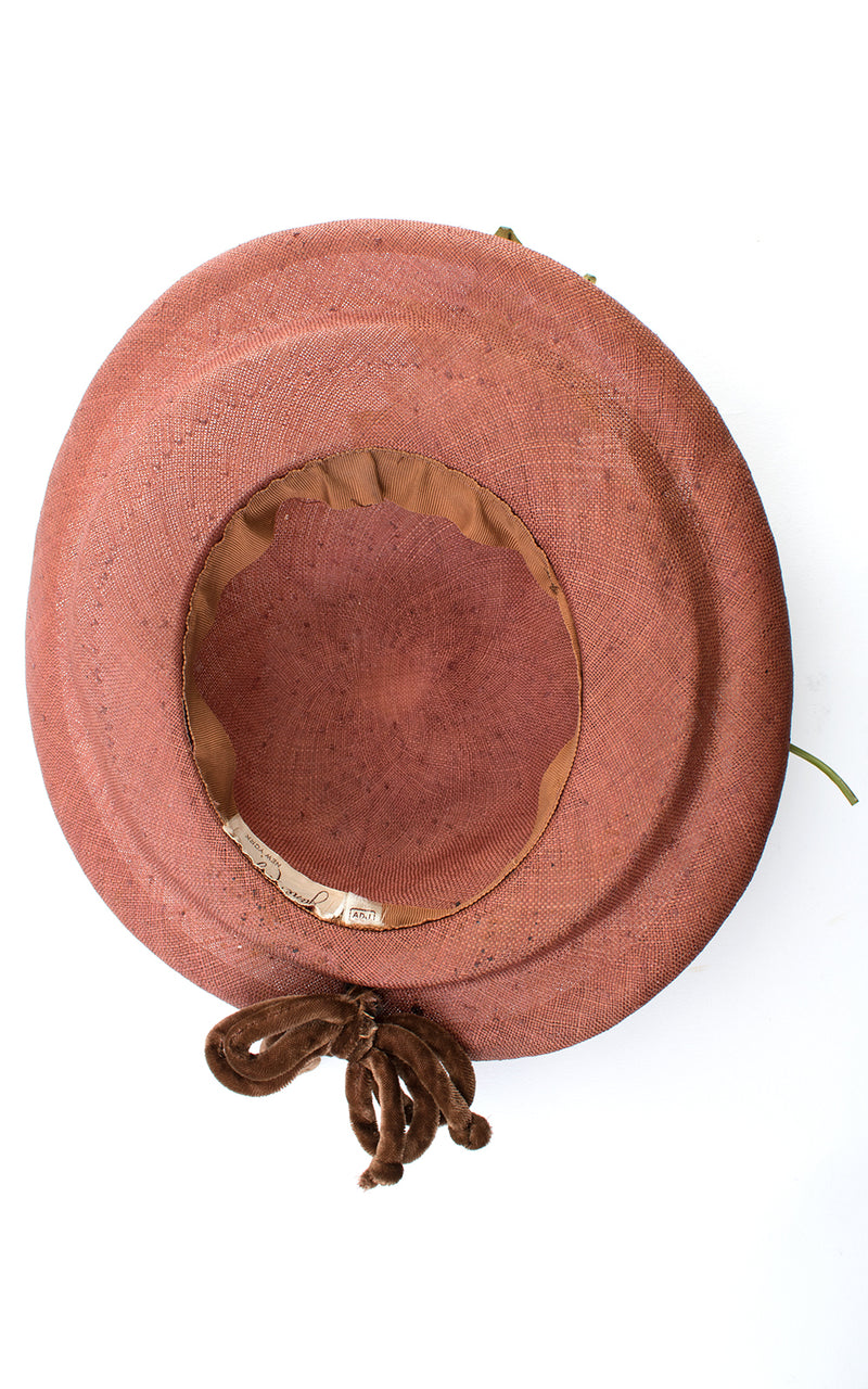 1950s White Floral & Brown Woven Sun Hat