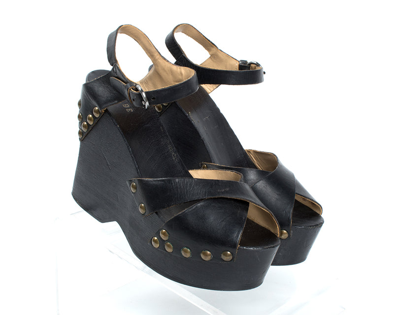 1970s Studded Black Wood Platform Sandals